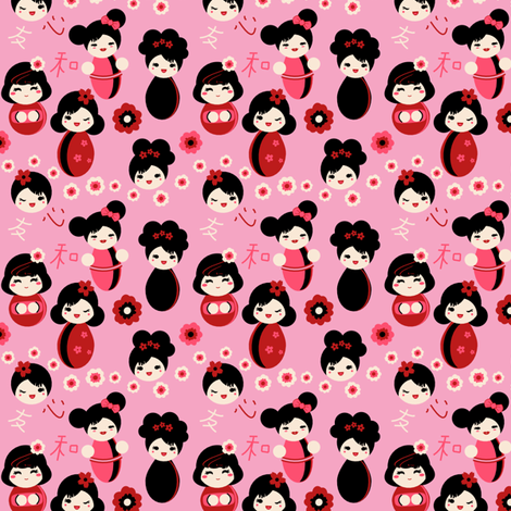 Pink Kokeshi fabric by eppiepeppercorn on Spoonflower - custom fabric