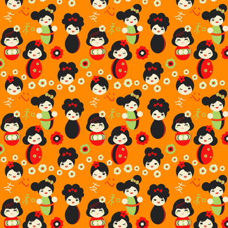 Cute Red & Green Japanese Dolls fabric by eppiepeppercorn on Spoonflower - custom fabric