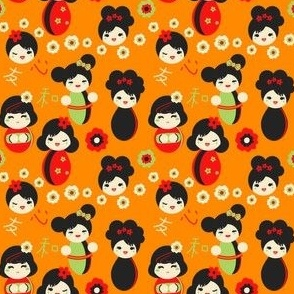 Cute Red & Green Japanese Dolls