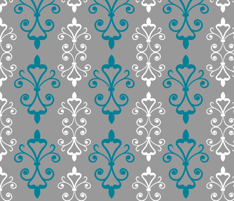 Blue Scroll fabric by christiem on Spoonflower - custom fabric