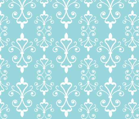 Turquoise Scroll fabric by christiem on Spoonflower - custom fabric