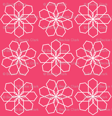 White geometric floral on Pink