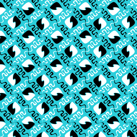 squiggle_leaf_turquoise fabric by glimmericks on Spoonflower - custom fabric