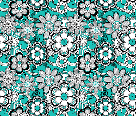 Mehndi Flowers in Turquoise fabric by fridabarlow on Spoonflower - custom fabric
