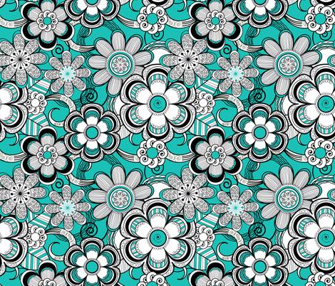 Mehndi Flowers in Turquoise