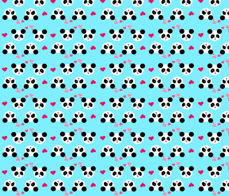 Panda Love Blue Small fabric by johanna_lange_designs on Spoonflower - custom fabric