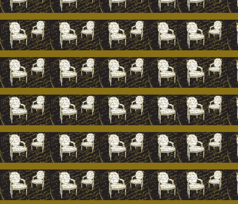 Two French Chairs on black fabric by karenharveycox on Spoonflower - custom fabric