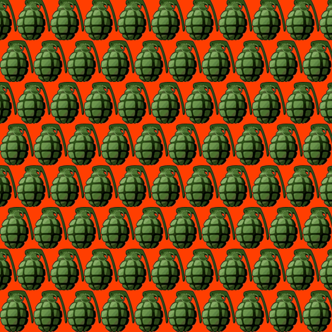 grenade red green fabric by fabricfaeries on Spoonflower - custom fabric