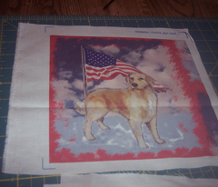 Golden Retriever and Flag