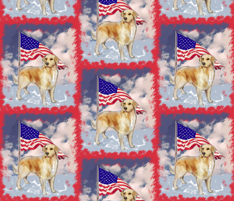Golden Retriever and Flag fabric by dogdaze_ on Spoonflower - custom fabric