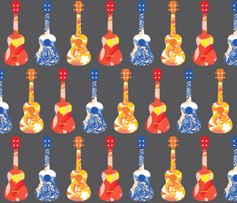 Ukuleles - Bright fabric by owlandchickadee on Spoonflower - custom fabric