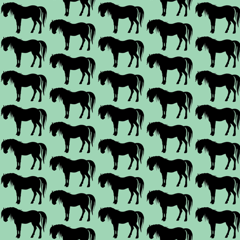 horse turquoise fabric by fabricfaeries on Spoonflower - custom fabric
