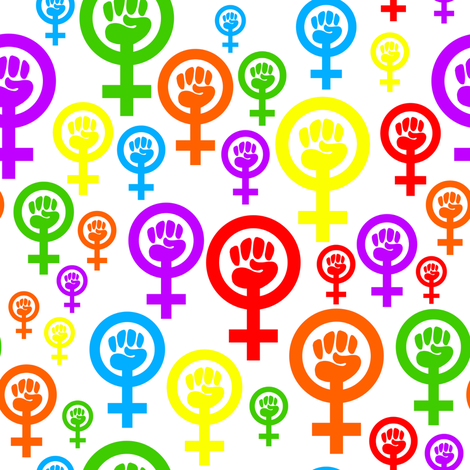 Feminist rainbow fabric by spacefem on Spoonflower - custom fabric