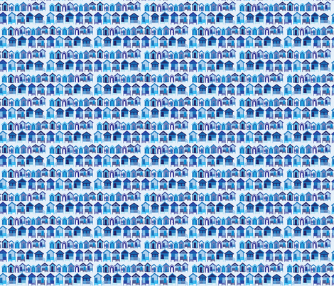 beach_huts_blue fabric by owls on Spoonflower - custom fabric