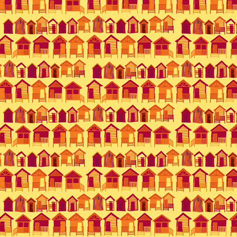 beach_huts_flame fabric by owls on Spoonflower - custom fabric