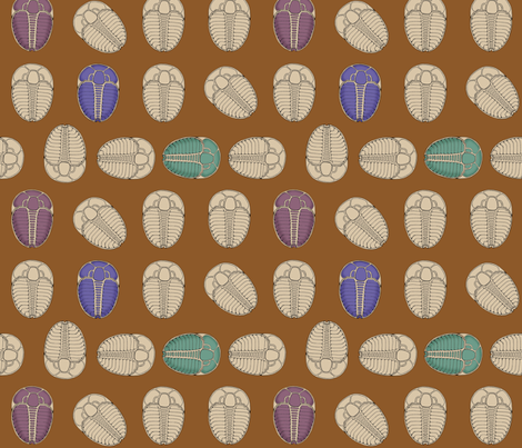 Trilobite Trot - Alternate Colors fabric by murex_textile_designs on Spoonflower - custom fabric