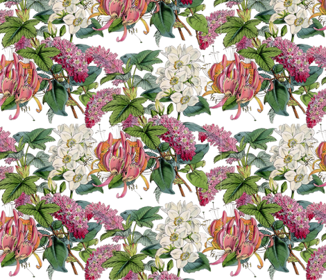 Flowers in Pink fabric by victoriagolden on Spoonflower - custom fabric