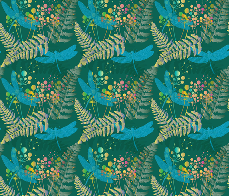 Carboniferous Rainforest with Meganeura fabric by kociara on Spoonflower - custom fabric