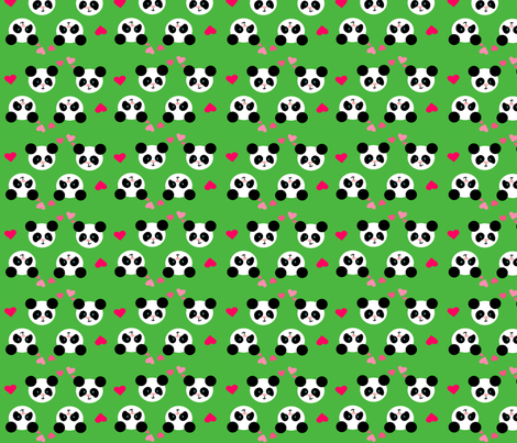 Panda Love Green Small fabric by johanna_lange_designs on Spoonflower - custom fabric