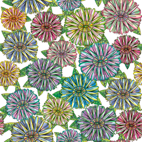 Mini Zinnia fabric by papermoonpatterns on Spoonflower - custom fabric