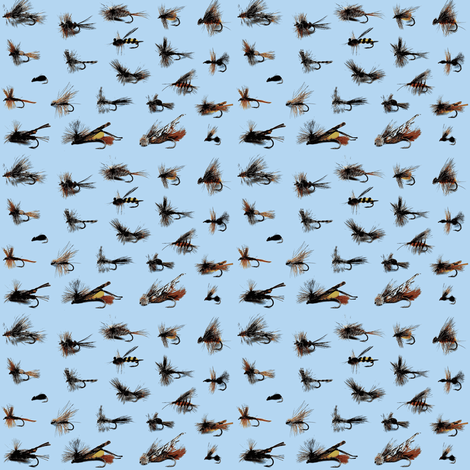 fishing flies blue fabric by fabricfaeries on Spoonflower - custom fabric