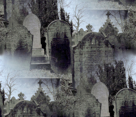 Haworth Graveyard in the Mist fabric by peacoquettedesigns on Spoonflower - custom fabric