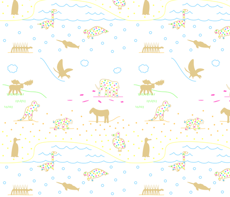 Extinct Animal Crackers Scene fabric by modgeek on Spoonflower - custom fabric