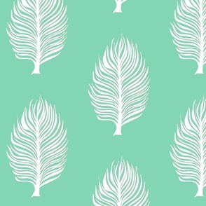 mint green and white feather