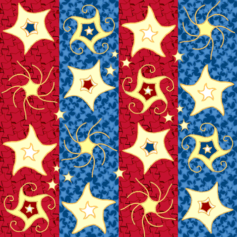Embroidered_Swirling_and_Twirling_Stars_on_Stripes_B_red_blue_fill fabric by khowardquilts on Spoonflower - custom fabric