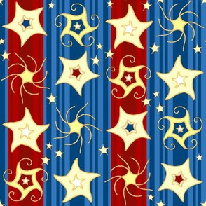 Embroidered_Swirling_and_Twirling_Stars_on_Stripes blue red C