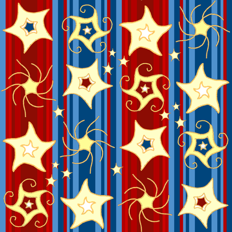 Embroidered_Swirling_and_Twirling_Stars_on_Stripes_red_blue3B fabric by khowardquilts on Spoonflower - custom fabric