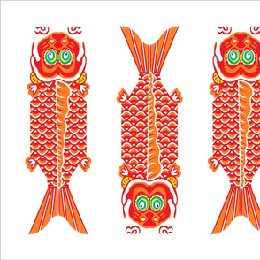4 Japanese Fish Teatowel Red