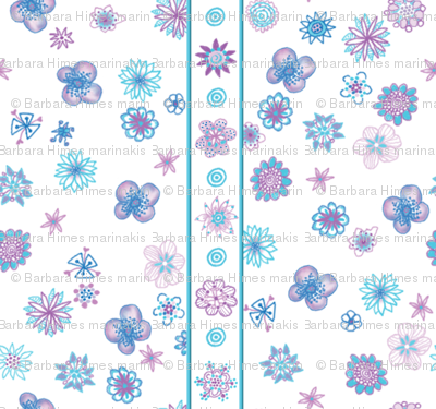 Wee Flowers: Stripe And Scatter - white