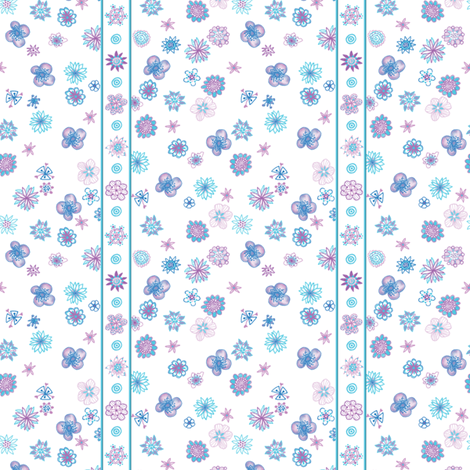 Wee Flowers: Stripe And Scatter - white fabric by tallulahdahling on Spoonflower - custom fabric