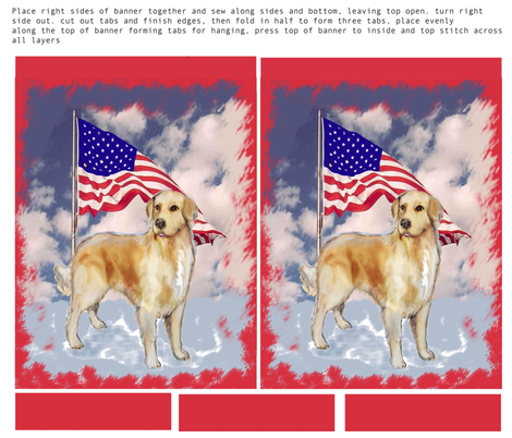 Cut and sew Yard flag with golden retriever fabric by dogdaze_ on Spoonflower - custom fabric