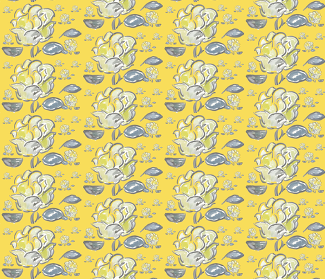 Yellow rose watercolor fabric by dogdaze_ on Spoonflower - custom fabric