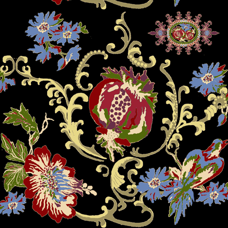 paradise rococo / black fabric by paragonstudios on Spoonflower - custom fabric