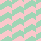 Broken Chevron Pastel Green & Pink