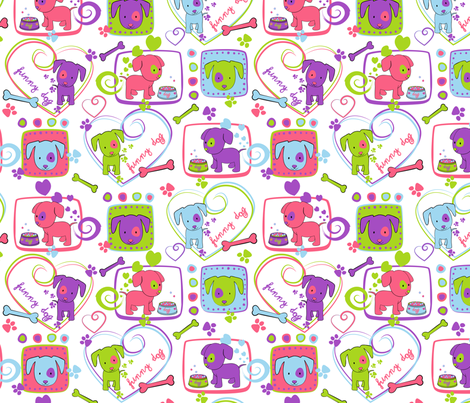 My loving dogs fabric by juliagrifol on Spoonflower - custom fabric