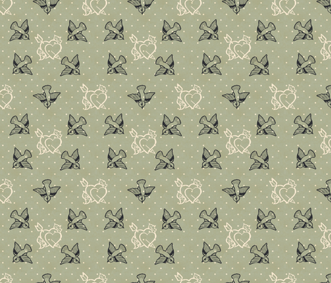 Dove Grey Tattoo fabric by cherryandcinnamon on Spoonflower - custom fabric
