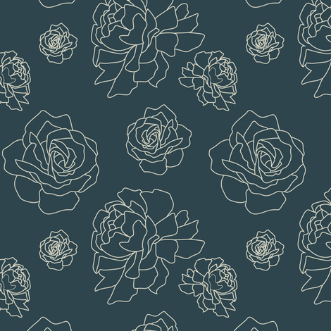 Roses and Peonies: Navy fabric by frontdoor on Spoonflower - custom fabric