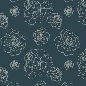 Roses and Peonies: Navy