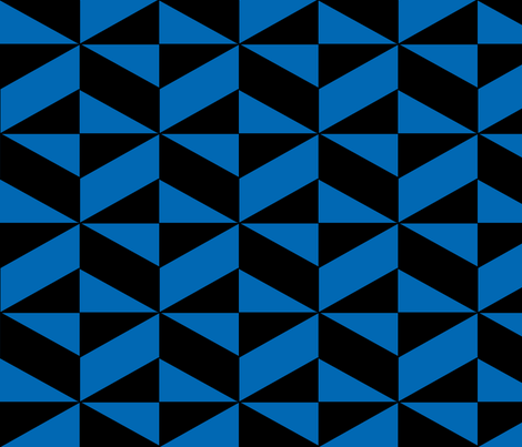 Blue Block Illusion fabric by sterlingrun on Spoonflower - custom fabric