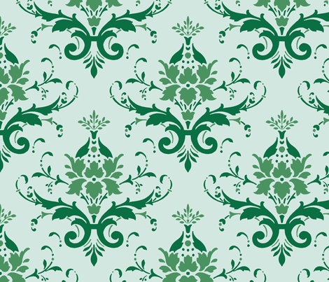 Victorian Flourish (green) fabric by studiofibonacci on Spoonflower - custom fabric