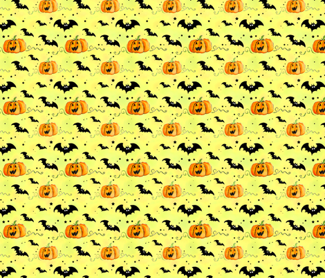 Bats and Pumpkins fabric by cherryandcinnamon on Spoonflower - custom fabric