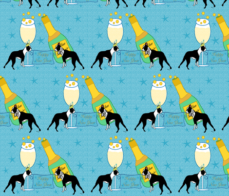 Happy New Year Boston Terriers fabric by missyq on Spoonflower - custom fabric