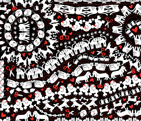 animal-cut-outs-red fabric by danab78 on Spoonflower - custom fabric