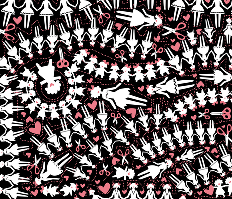 paperdolls-pink fabric by danab78 on Spoonflower - custom fabric