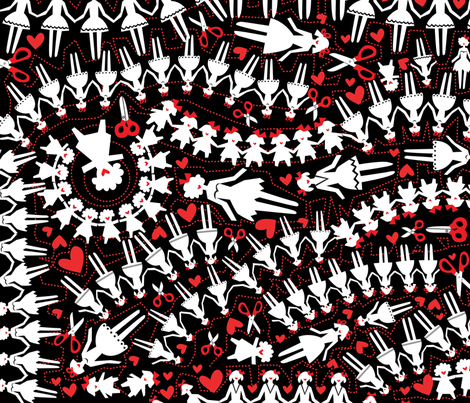 paperdolls-red fabric by danab78 on Spoonflower - custom fabric
