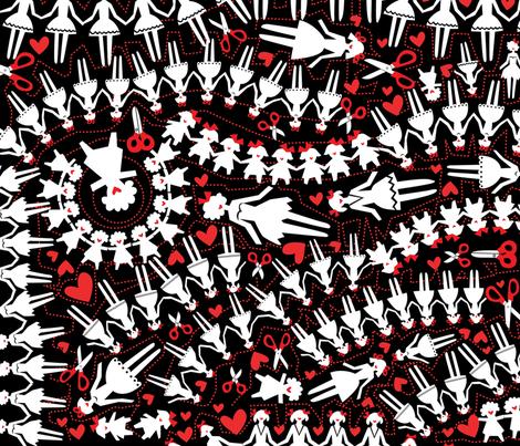 paperdolls-red fabric by danab78 on Spoonflower - custom fabric